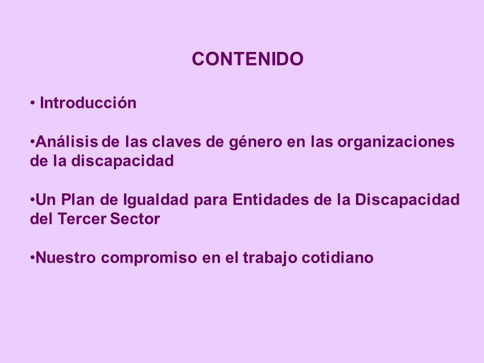 CONTENIDO Introducción Análisis de las claves de género en las organizaciones de la discapacidad Un Plan de Igualdad para Entidades de la Discapacidad