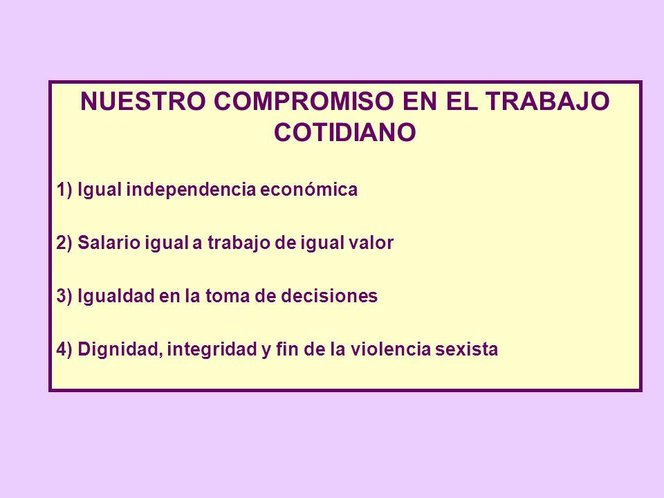 NUESTRO COMPROMISO EN EL TRABAJO COTIDIANO 1) Igual independencia económica 2) Salario igual a trabajo de igual valor 3) Igualdad en la toma de decisi