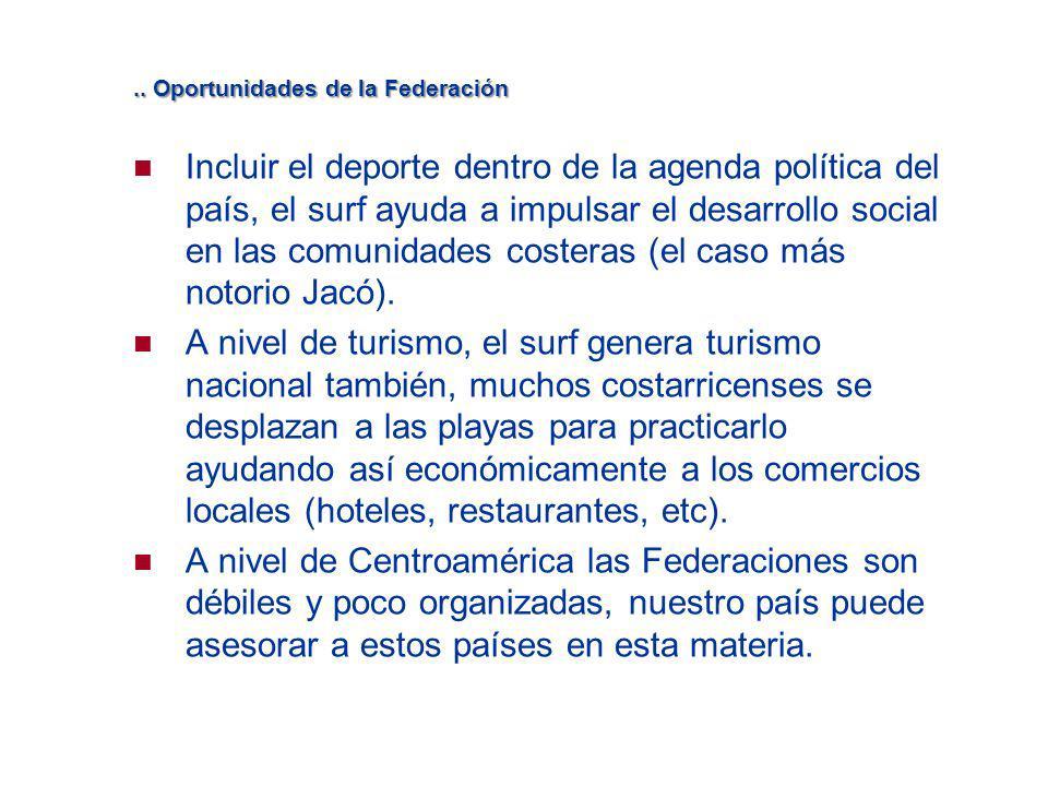 .. Oportunidades de la Federación Incluir el deporte dentro de la agenda política del país, el surf ayuda a impulsar el desarrollo social en las comun