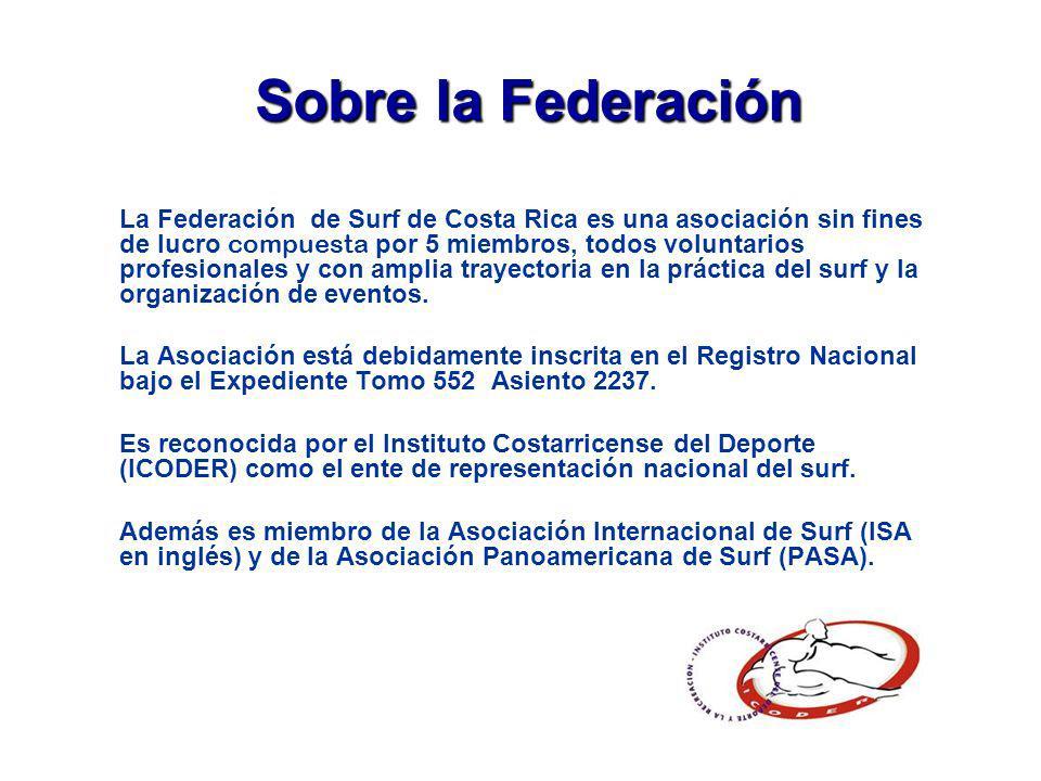 Sobre la Federación La Federación de Surf de Costa Rica es una asociación sin fines de lucro compuesta por 5 miembros, todos voluntarios profesionales