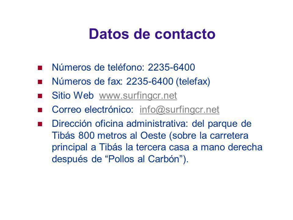 Datos de contacto Números de teléfono: 2235-6400 Números de fax: 2235-6400 (telefax) Sitio Web www.surfingcr.netwww.surfingcr.net Correo electrónico: