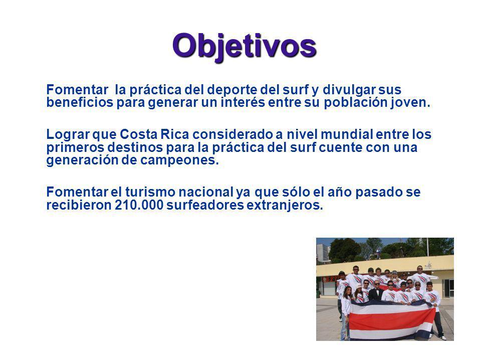 Objetivos Fomentar la práctica del deporte del surf y divulgar sus beneficios para generar un interés entre su población joven. Lograr que Costa Rica