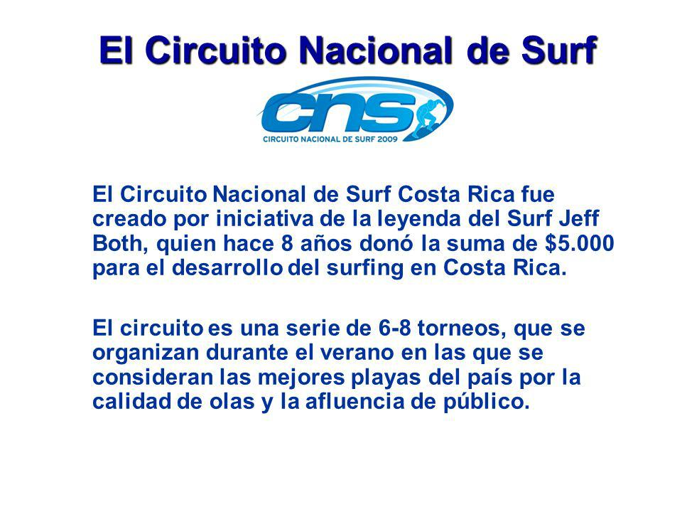 El Circuito Nacional de Surf El Circuito Nacional de Surf Costa Rica fue creado por iniciativa de la leyenda del Surf Jeff Both, quien hace 8 años don