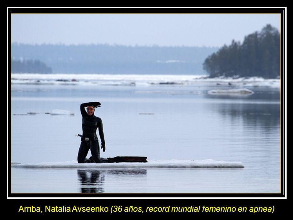 Dos rusos, el fotógrafo Viktor Lyagushkin y la buceadora en apnea Natalia Avseenko, han realizado pruebas en abril de 2011, en el Mar Blanco al noroes