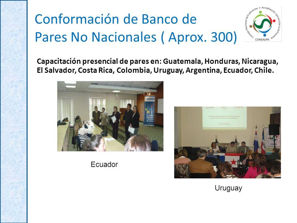 Conformación de Banco de Pares No Nacionales ( Aprox. 300) Capacitación presencial de pares en: Guatemala, Honduras, Nicaragua, El Salvador, Costa Ric
