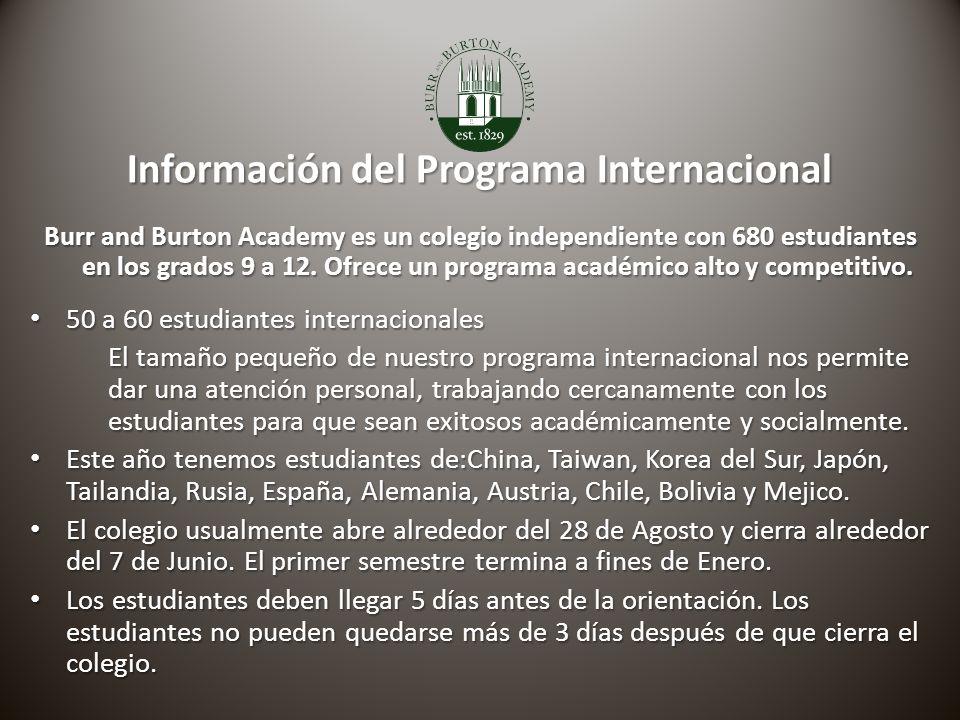 Información del Programa Internacional Información del Programa Internacional Burr and Burton Academy es un colegio independiente con 680 estudiantes en los grados 9 a 12.