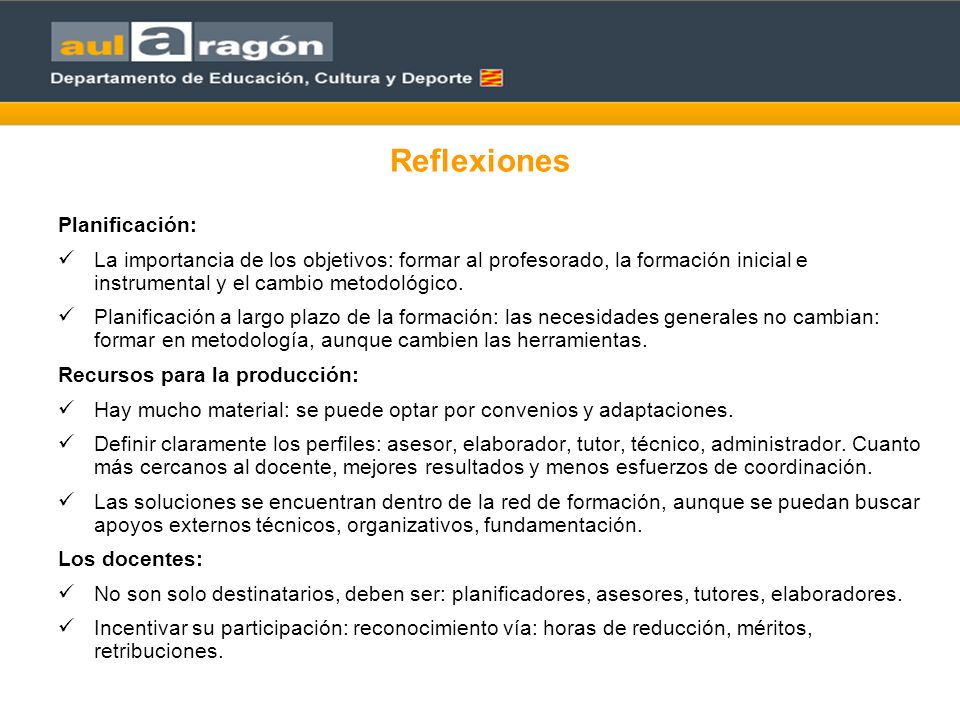 Reflexiones Planificación: La importancia de los objetivos: formar al profesorado, la formación inicial e instrumental y el cambio metodológico.