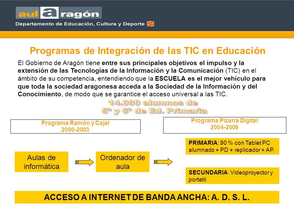 Programa Ramón y Cajal 2000-2003 Programa Pizarra Digital 2004-2009 Programas de Integración de las TIC en Educación El Gobierno de Aragón tiene entre sus principales objetivos el impulso y la extensión de las Tecnologías de la Información y la Comunicación (TIC) en el ámbito de su competencia, entendiendo que la ESCUELA es el mejor vehículo para que toda la sociedad aragonesa acceda a la Sociedad de la Información y del Conocimiento, de modo que se garantice el acceso universal a las TIC.