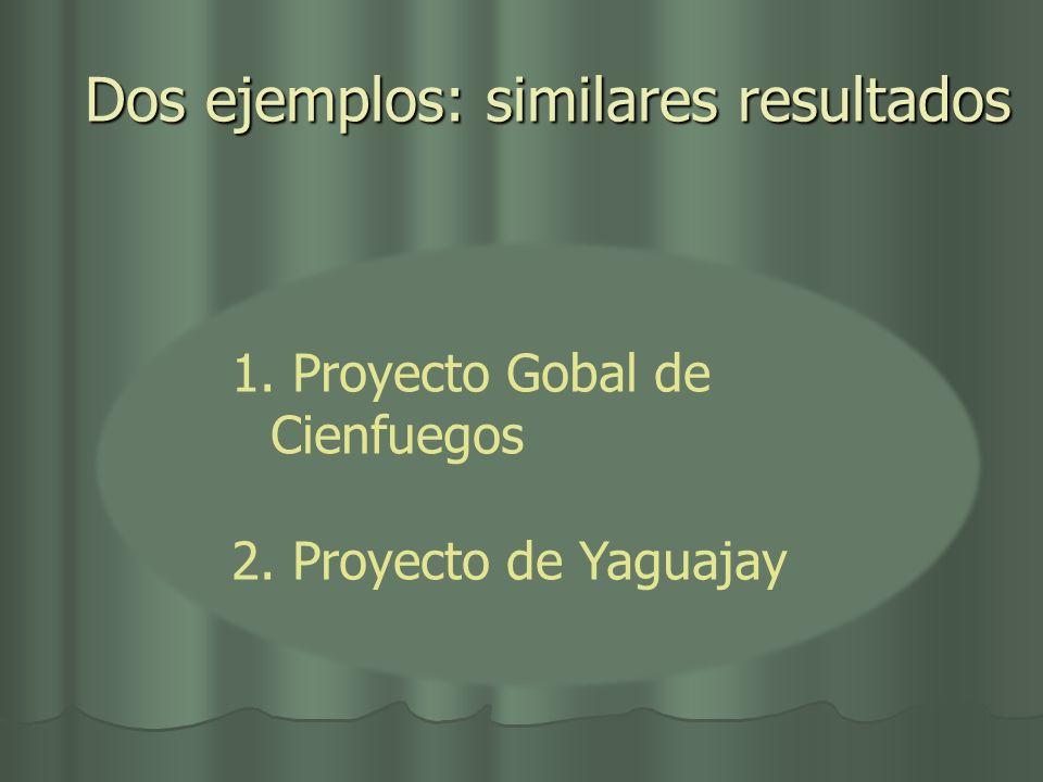 Dos ejemplos: similares resultados 1. Proyecto Gobal de Cienfuegos 2. Proyecto de Yaguajay
