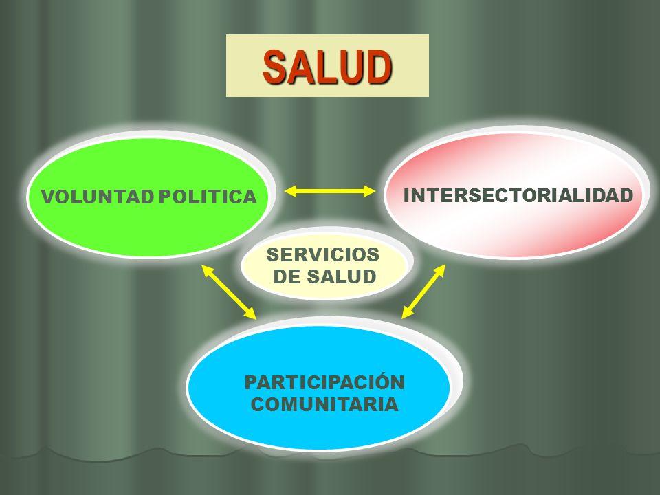 SALUD VOLUNTAD POLITICA INTERSECTORIALIDAD PARTICIPACIÓN COMUNITARIA SERVICIOS DE SALUD SERVICIOS DE SALUD