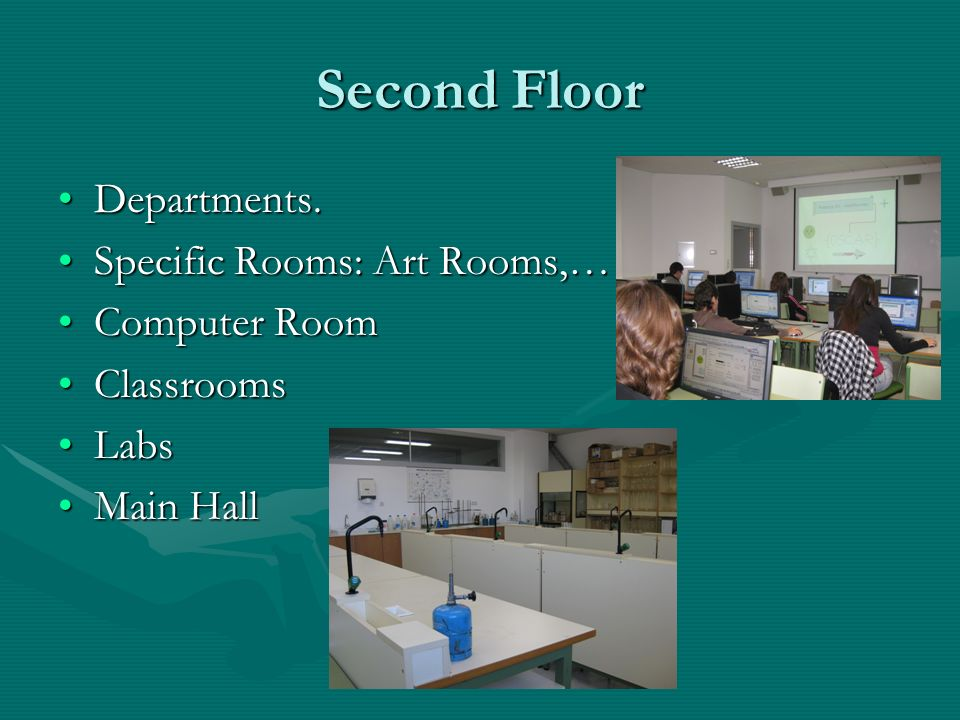 Second Floor Departments.Departments. Specific Rooms: Art Rooms,…Specific Rooms: Art Rooms,… Computer RoomComputer Room ClassroomsClassrooms LabsLabs