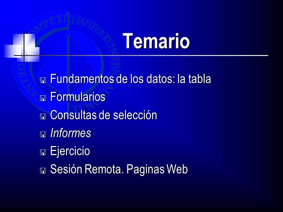 Temario Fundamentos de los datos: la tabla Fundamentos de los datos: la tabla Formularios Formularios Consultas de selección Consultas de selección Informes Informes Ejercicio Ejercicio Sesión Remota.