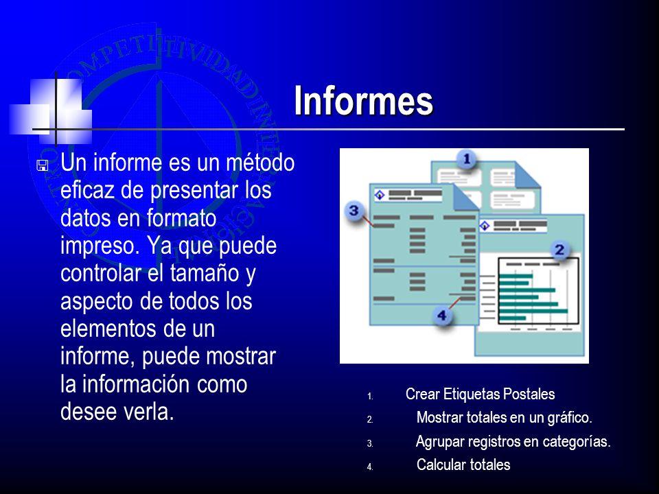 Informes Un informe es un método eficaz de presentar los datos en formato impreso. Ya que puede controlar el tamaño y aspecto de todos los elementos d