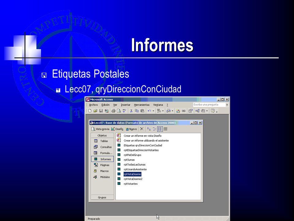 Informes Etiquetas Postales Lecc07, qryDireccionConCiudad