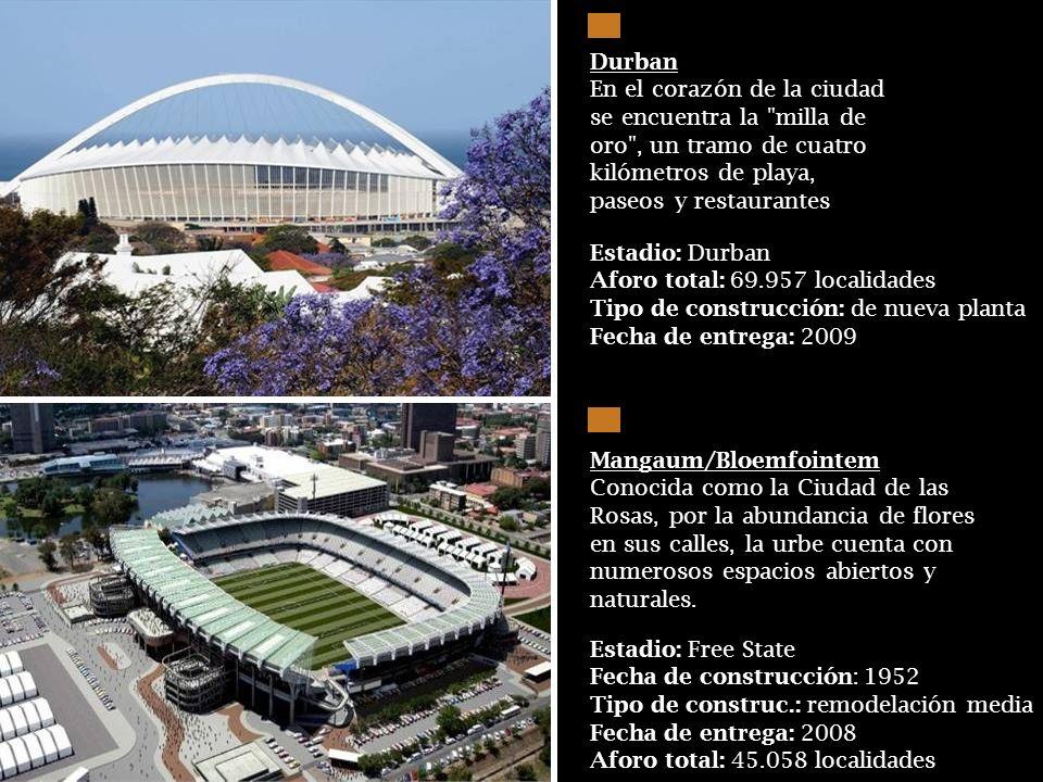 Estadio: Estadio Puerto Elizabeth Aforo total: 48,000 localidades Tipo de construcción: de nueva planta Fecha de entrega: 2009 Bahía Nelson Mandela/Pu