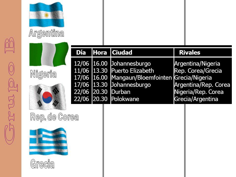 11/06 16.00 Johannesburgo 11/06 20.30 Ciudad del Cabo 16/06 20.30 Tshwane/Pretoria 17/06 20.30 Polokwane 22/06 16.00 Rustenburgo 22/06 16.00 Mangaun/B
