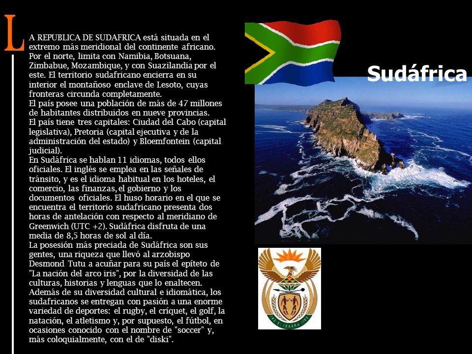 A REPUBLICA DE SUDAFRICA está situada en el extremo más meridional del continente africano.