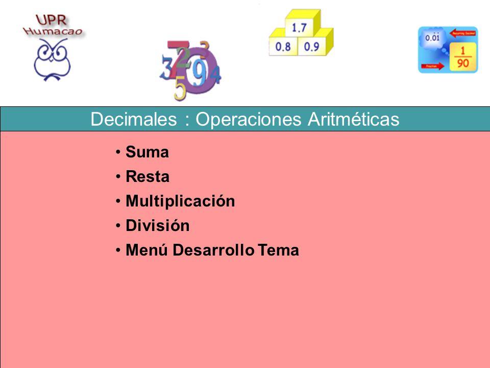 Decimales : Operaciones Aritméticas Resta Multiplicación División Suma Menú Desarrollo Tema