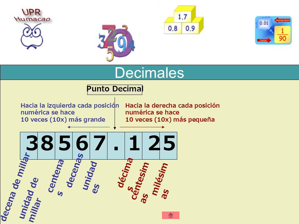 Decimales 38765.521 décima s céntesim as milésim as decenas unidad es unidad de millar Hacia la izquierda cada posición numérica se hace 10 veces (10x