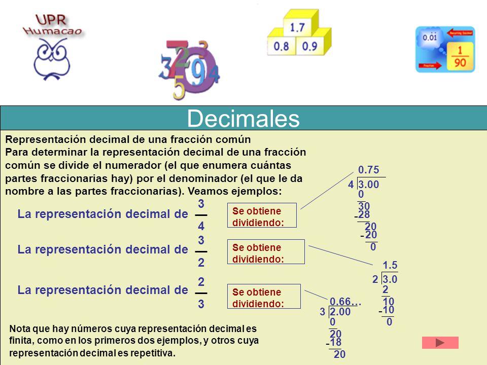 Decimales 3434 La representación decimal de Representación decimal de una fracción común Para determinar la representación decimal de una fracción com