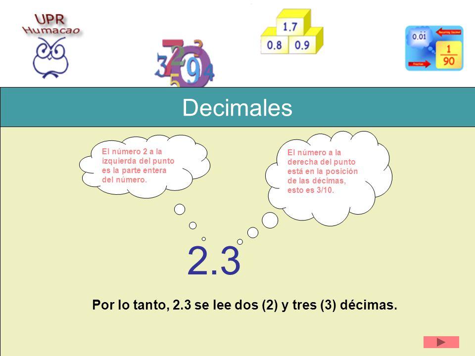 Decimales 2.3 Por lo tanto, 2.3 se lee dos (2) y tres (3) décimas. El número 2 a la izquierda del punto es la parte entera del número. El número a la