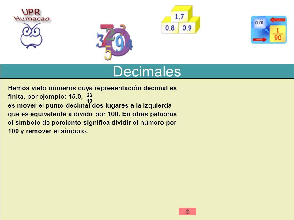 Decimales Hemos visto números cuya representación decimal es finita, por ejemplo: 15.0, es mover el punto decimal dos lugares a la izquierda que es eq