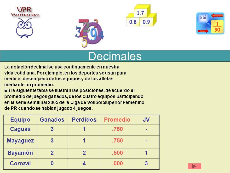 Decimales La notación decimal se usa continuamente en nuestra vida cotidiana. Por ejemplo, en los deportes se usan para medir el desempeño de los equi