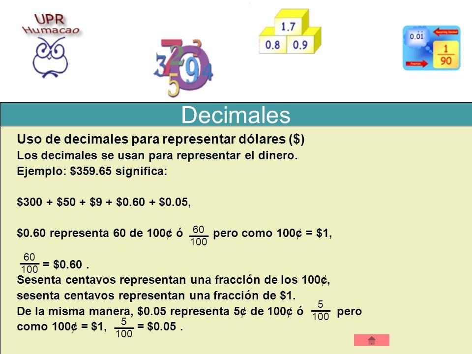 Decimales Uso de decimales para representar dólares ($) Los decimales se usan para representar el dinero. Ejemplo: $359.65 significa: $300 + $50 + $9