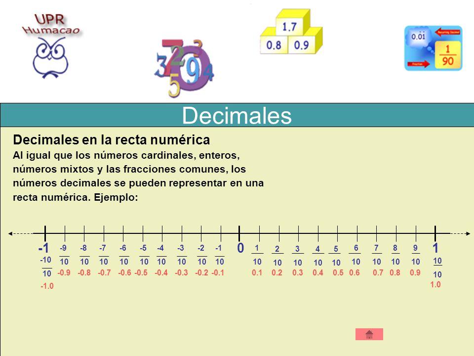 Decimales Decimales en la recta numérica Al igual que los números cardinales, enteros, números mixtos y las fracciones comunes, los números decimales