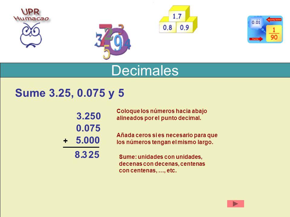 Decimales Sume 3.25, 0.075 y 5 3.25 + Coloque los números hacia abajo alineados por el punto decimal. Añada ceros si es necesario para que los números