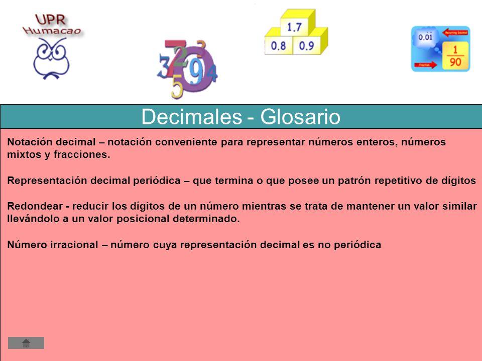 Decimales - Glosario Notación decimal – notación conveniente para representar números enteros, números mixtos y fracciones. Representación decimal per