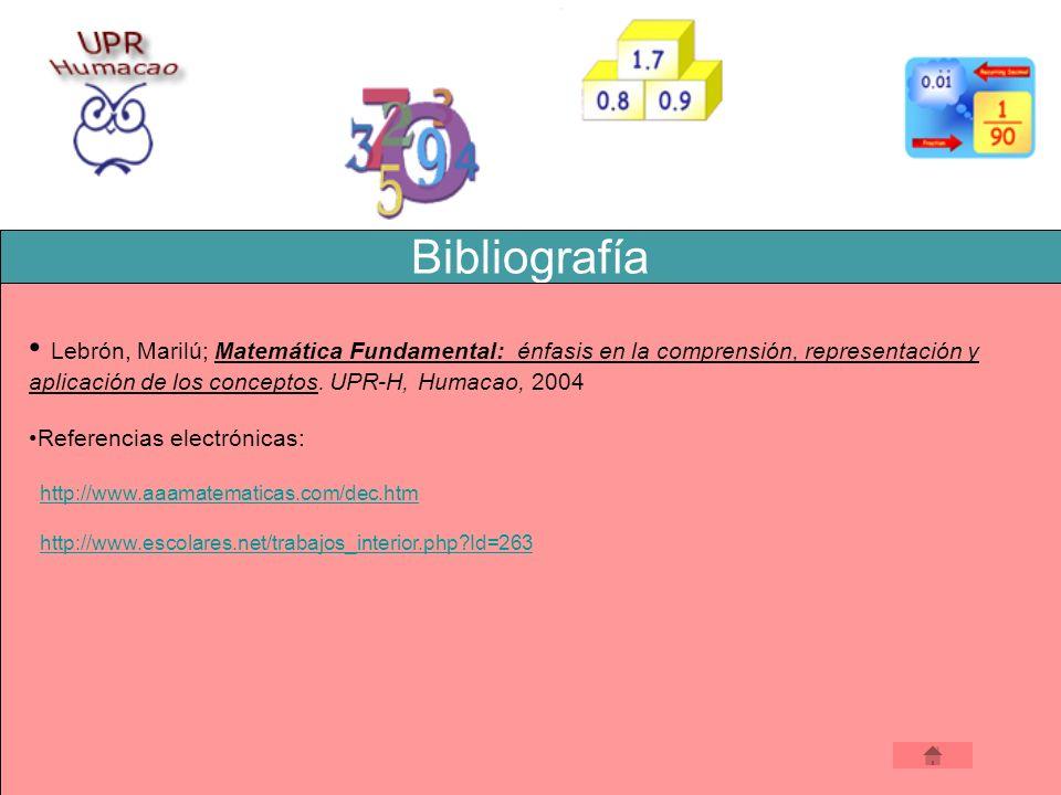 Bibliografía Lebrón, Marilú; Matemática Fundamental: énfasis en la comprensión, representación y aplicación de los conceptos. UPR-H, Humacao, 2004 Leb
