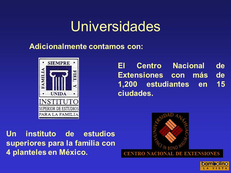 Universidades Adicionalmente contamos con: Un instituto de estudios superiores para la familia con 4 planteles en México.