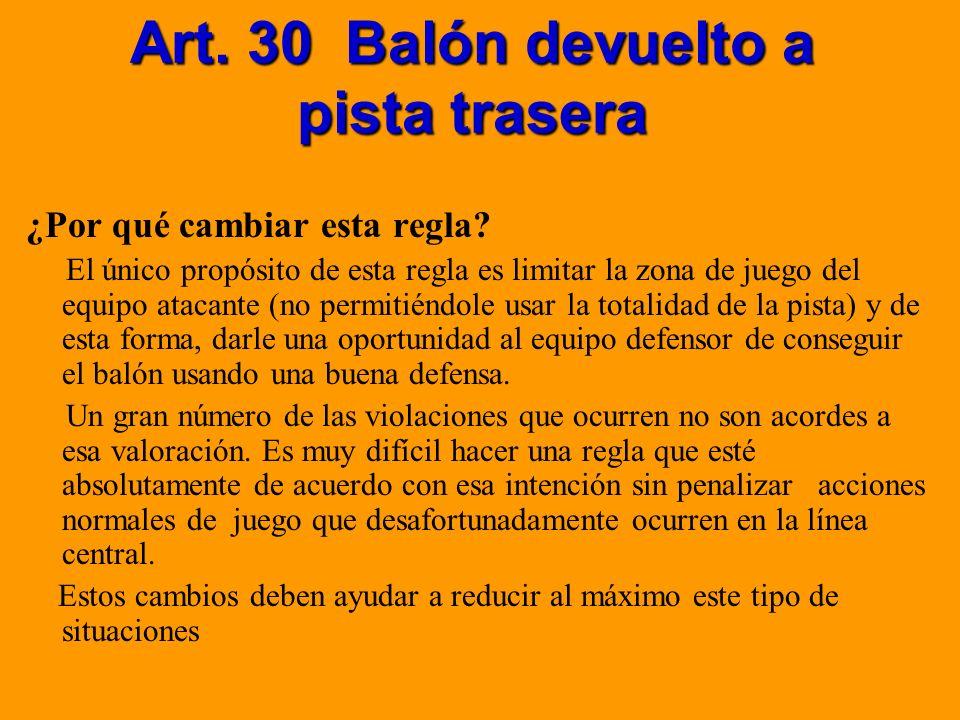 Art. 30 Balón devuelto a pista trasera ¿Por qué cambiar esta regla? El único propósito de esta regla es limitar la zona de juego del equipo atacante (