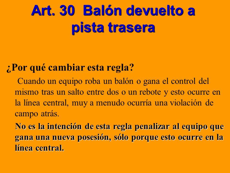 Art. 30 Balón devuelto a pista trasera ¿Por qué cambiar esta regla? Cuando un equipo roba un balón o gana el control del mismo tras un salto entre dos