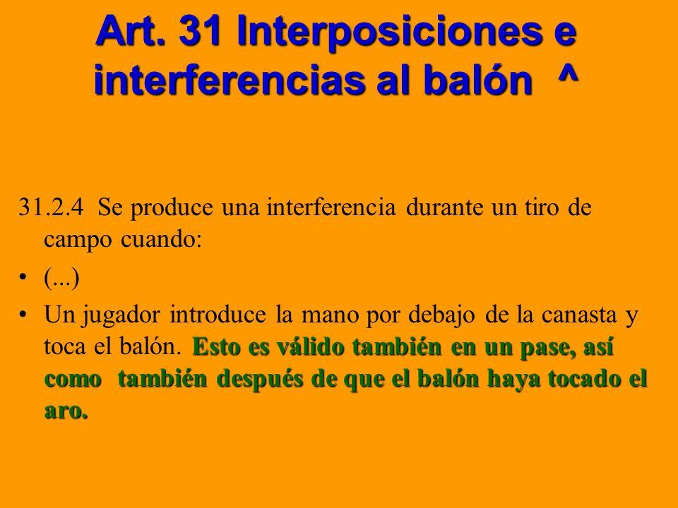 Art. 31 Interposiciones e interferencias al balón ^ 31.2.4 Se produce una interferencia durante un tiro de campo cuando: (...) Esto es válido también