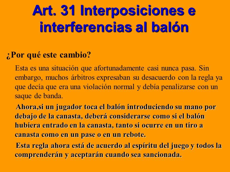 Art. 31 Interposiciones e interferencias al balón ¿Por qué este cambio? Esta es una situación que afortunadamente casi nunca pasa. Sin embargo, muchos