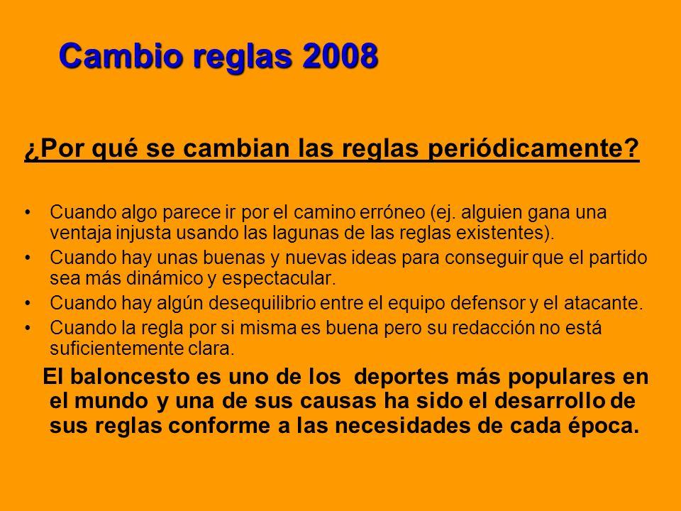 Cambio reglas 2008 ¿Por qué se cambian las reglas periódicamente? Cuando algo parece ir por el camino erróneo (ej. alguien gana una ventaja injusta us