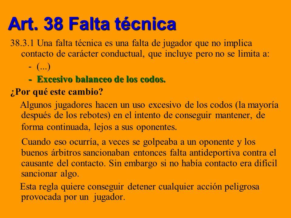 Art. 38 Falta técnica 38.3.1 Una falta técnica es una falta de jugador que no implica contacto de carácter conductual, que incluye pero no se limita a