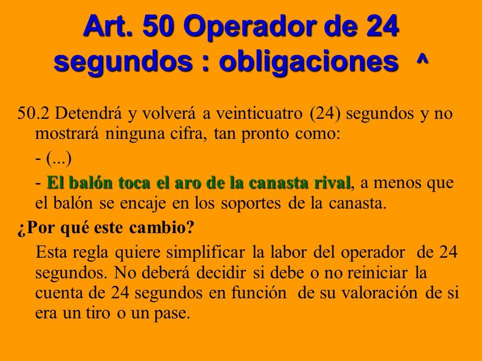 Art. 50 Operador de 24 segundos : obligaciones ^ 50.2 Detendrá y volverá a veinticuatro (24) segundos y no mostrará ninguna cifra, tan pronto como: -