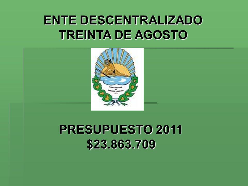 ENTE DESCENTRALIZADOMUNICIPALIDAD DE ENTE DESCENTRALIZADOMUNICIPALIDAD DE TREINTA DE AGOSTO TRENQUE LAUQUEN TREINTA DE AGOSTO TRENQUE LAUQUEN Presupuesto 2011: Cálculo de Recursos * El 75% se reparte entre las 2 tasas más importantes: - Red Vial ($5.181.436) y - A/L/CVP $1.222.561) * El 19% por: - Contrib.