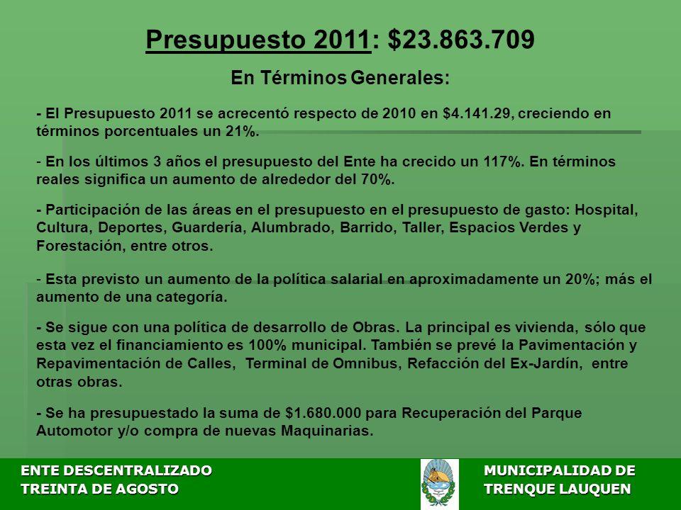 ENTE DESCENTRALIZADOMUNICIPALIDAD DE ENTE DESCENTRALIZADOMUNICIPALIDAD DE TREINTA DE AGOSTO TRENQUE LAUQUEN TREINTA DE AGOSTO TRENQUE LAUQUEN Presupuesto 2011: $23.863.709 En Términos Generales: - El Presupuesto 2011 se acrecentó respecto de 2010 en $4.141.29, creciendo en términos porcentuales un 21%.