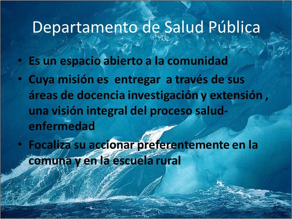 Departamento de Salud Pública Es un espacio abierto a la comunidad Cuya misión es entregar a través de sus áreas de docencia investigación y extensión, una visión integral del proceso salud- enfermedad Focaliza su accionar preferentemente en la comuna y en la escuela rural