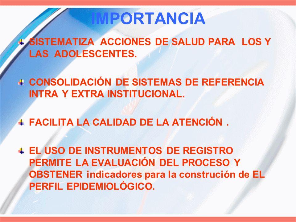 IMPORTANCIA SISTEMATIZA ACCIONES DE SALUD PARA LOS Y LAS ADOLESCENTES. CONSOLIDACIÓN DE SISTEMAS DE REFERENCIA INTRA Y EXTRA INSTITUCIONAL. FACILITA L