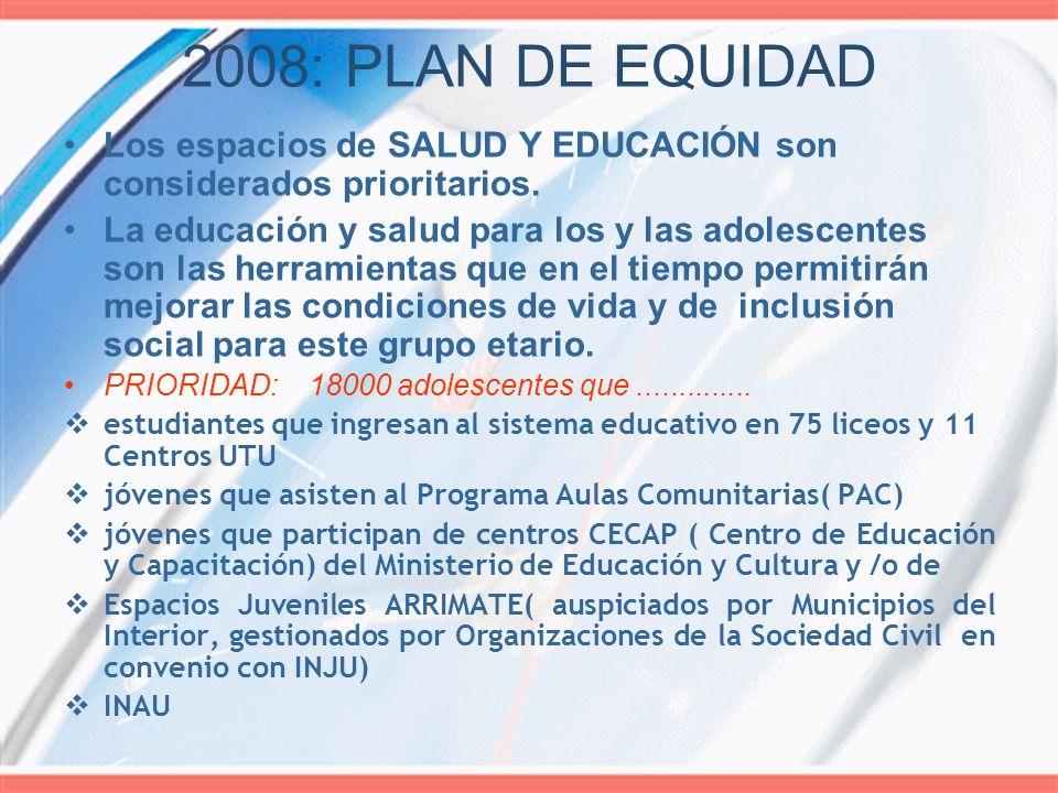 2008: PLAN DE EQUIDAD Los espacios de SALUD Y EDUCACIÓN son considerados prioritarios. La educación y salud para los y las adolescentes son las herram