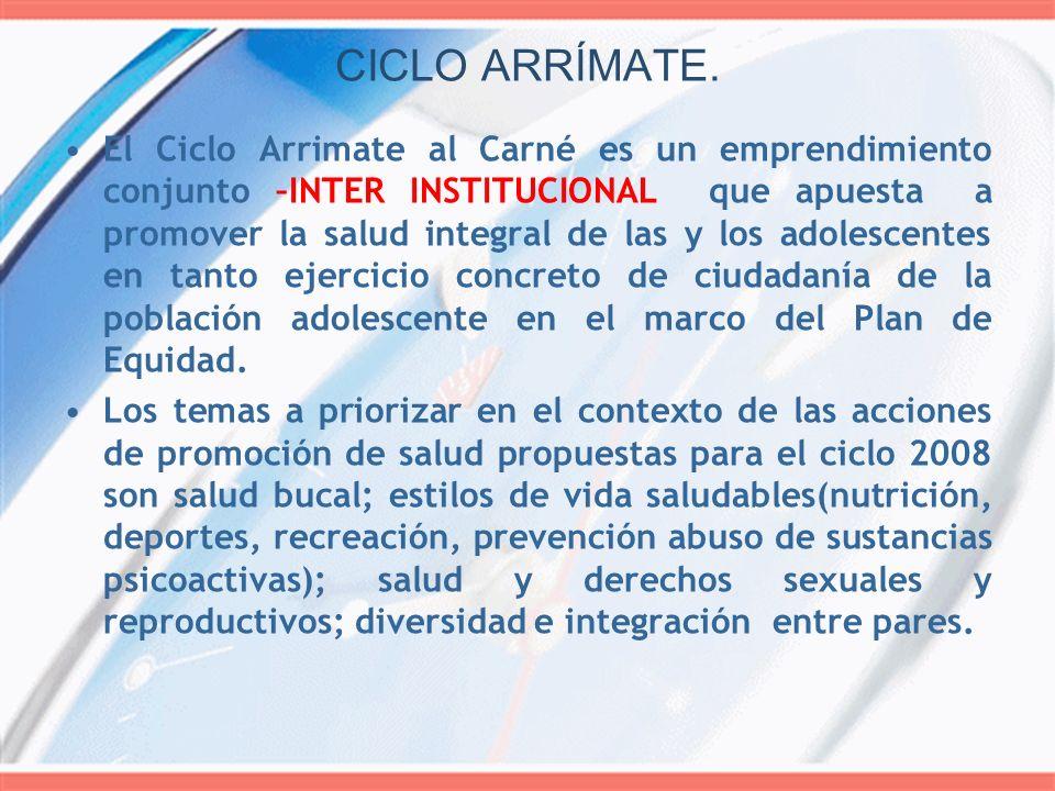 CICLO ARRÍMATE. El Ciclo Arrimate al Carné es un emprendimiento conjunto –INTER INSTITUCIONAL que apuesta a promover la salud integral de las y los ad