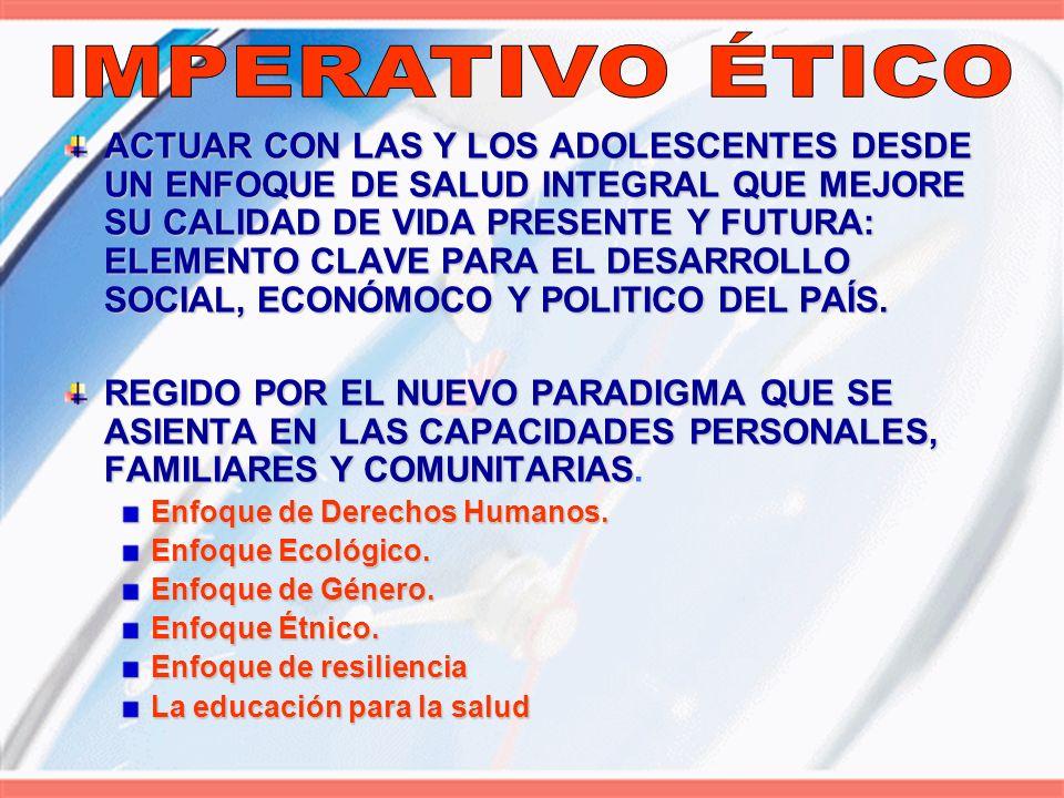 LA IMPLEMENTACIÓN MODELO DE ATENCIÓN INTEGRAL A LA ADOLESCENCIA : NACIONAL UNIVERSAL EQUITATIVO INTEGRAL ATENCIÓN PRIMARIA EN SALUD RENOVADA EN SALUD RENOVADA PLAN DE EQUIDAD OBJETIVOS DEL MILENIO ESTRATEGIAESTRATEGIA SISTEMA NACIONAL INTEGRADO EN SALUD
