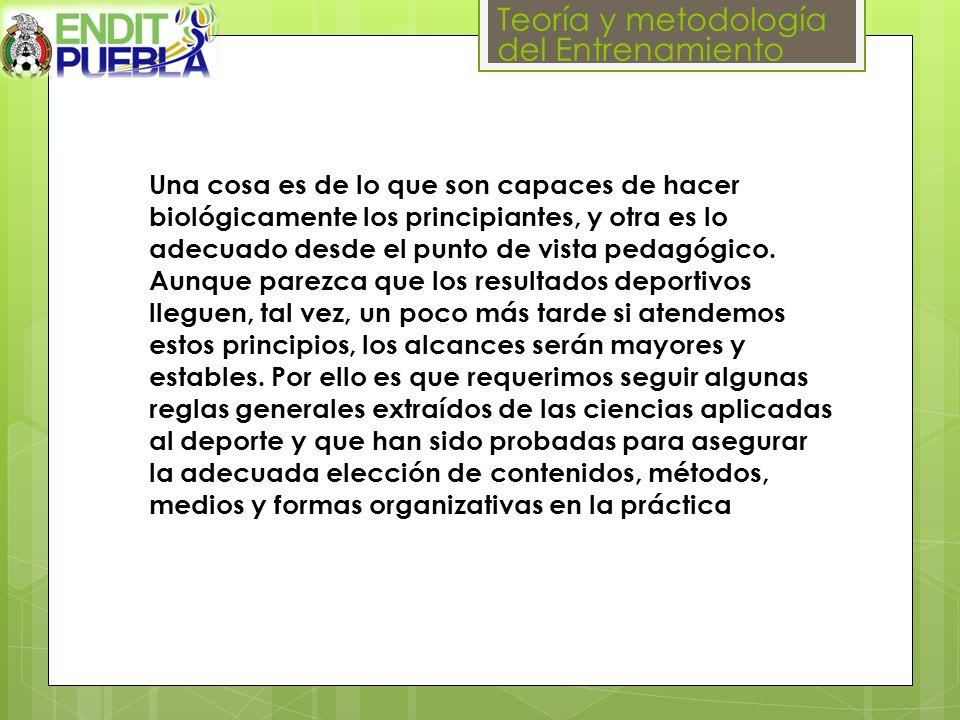 Teoría y metodología del Entrenamiento Una cosa es de lo que son capaces de hacer biológicamente los principiantes, y otra es lo adecuado desde el punto de vista pedagógico.