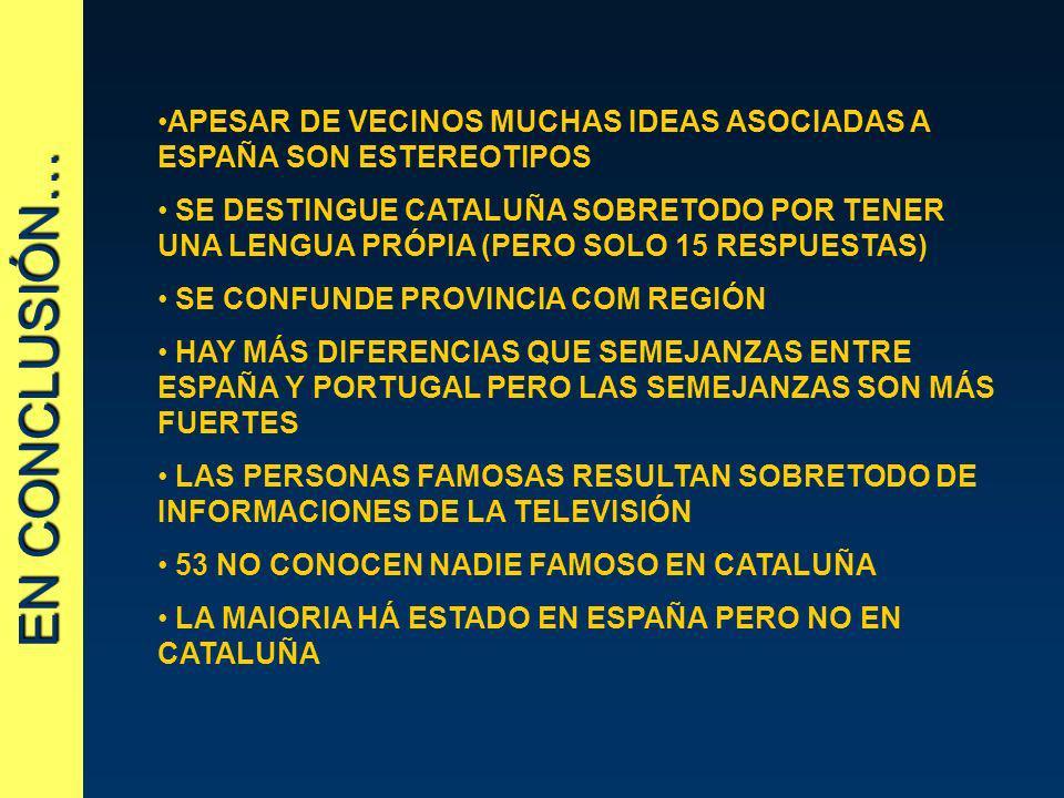 EN CONCLUSIÓN… APESAR DE VECINOS MUCHAS IDEAS ASOCIADAS A ESPAÑA SON ESTEREOTIPOS SE DESTINGUE CATALUÑA SOBRETODO POR TENER UNA LENGUA PRÓPIA (PERO SO