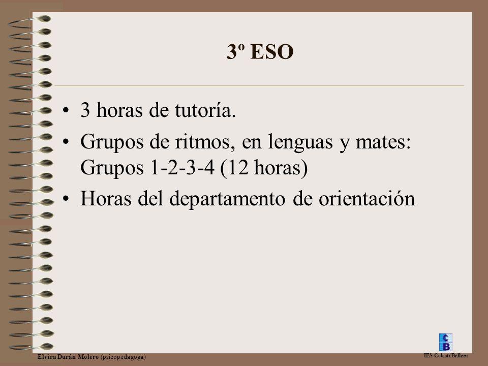 IES Celestí Bellera Elvira Durán Molero (psicopedagoga) 3º ESO 3 horas de tutoría. Grupos de ritmos, en lenguas y mates: Grupos 1-2-3-4 (12 horas) Hor